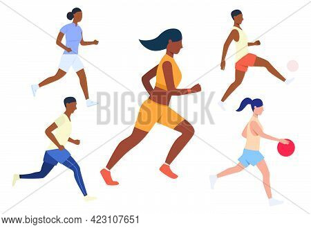 Set Of Running Sport Activities. Men And Women Jogging, Playing Football Or Basketball. Sport Concep