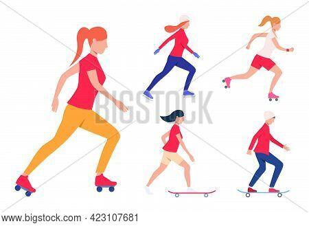 Set Of Skating Activities. Girls And Guy Skateboarding, Roller Skating And Ice Skating. Activity Con