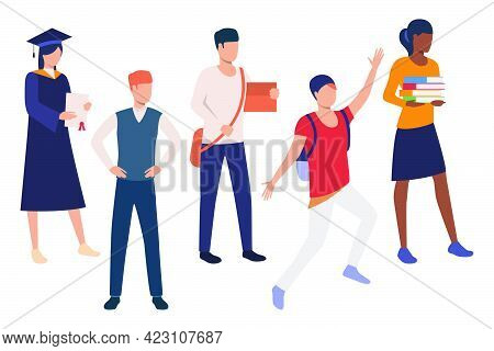 Set Of Smart Students Of College. Collection Of Young Men And Women Attending University. Vector Ill