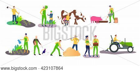 Set Of Time Farming Activities. People Gardening, Ranching Cattle, Harvesting. Farming Concept. Vect