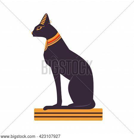 Bastet Black Cat Statue As Ancient Egyptian Deity And Symbol Vector Illustration