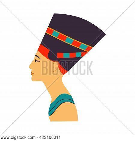 Nefertiti Bust As Great Royal Wife Of Egyptian Pharaoh Vector Illustration
