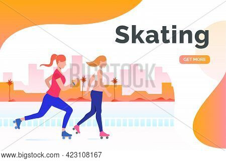 Skating Lettering, Skater Women And Distant Buildings. Lifestyle, Activity, Leisure Concept. Present