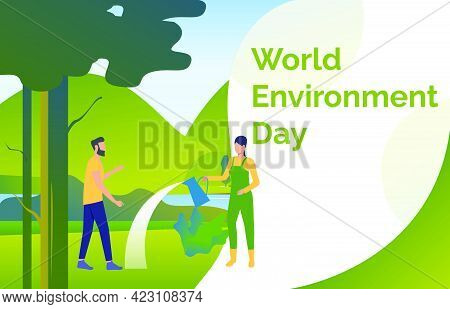 Woman And Man Watering And Planting Trees In Wild Nature. Eco, Ecosystem, World, Landscape Concept.