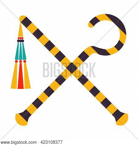 Crossed Sceptre And Whip As Ancient Egyptian Symbol Of Power Vector Illustration