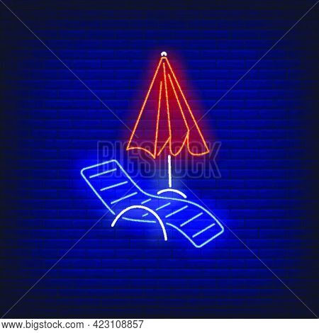 Chaise Longue And Beach Umbrella Neon Sign. Summer, Holiday, Vacation, Resort Design. Night Bright N