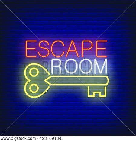 Escape Room Neon Sign. Vintage Key And Text On Brick Wall Background. Glowing Banner Or Billboard El
