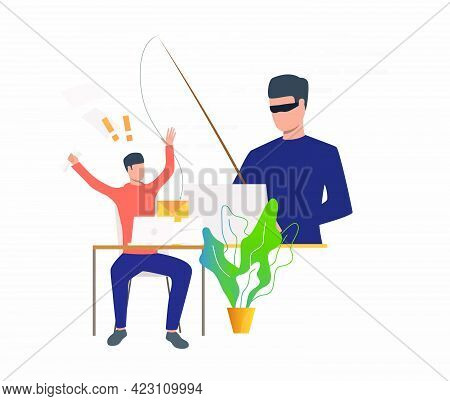 Burglar Hacking Into Office Email Server. Hacker Holding Fishing Tackle With Hooked Letter Of Employ