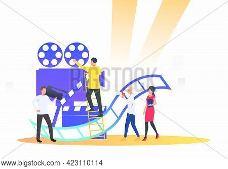 Camera Crew Making Film. Camera, Scenario, Actors. Filmmaking Concept. Vector Illustration For Prese