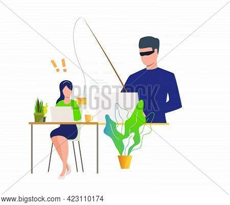 Cyber Criminal Hacking Into Email Server. Burglar Holding Fishing Tackle With Hooked Envelope. Cyber