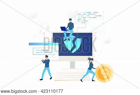 Cybercrime Team Hacking Into Computer. Cartoon Hackers Carrying Password And Money. Hacker Attack Co