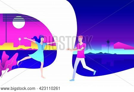 Man And Woman Running To Each Other And Dating. Flirt, Together, Feelings Concept. Vector Illustrati