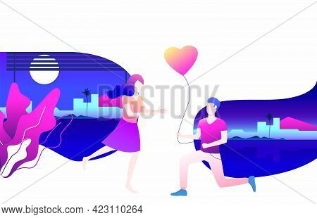 Man Giving Heart Shaped Balloon To Girlfriend. Flirt, Together, Feelings Concept. Vector Illustratio