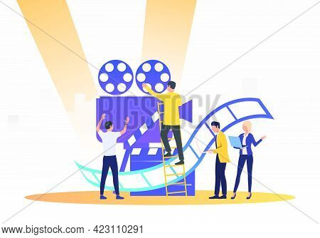 People Creating Film. Camera, Scenario, Actors. Filmmaking Concept. Vector Illustration For Presenta