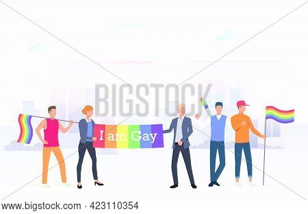 People Holding I Am Gay Banner In City. Diversity, Discrimination, Freedom Concept. Vector Illustrat