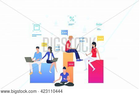 People Using Gadgets And Communicating. Network, Information Sharing, Gadget Concept. Vector Illustr