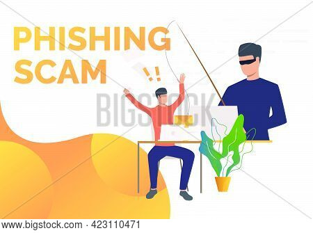 Phishing Scam Page Template With Burglar Hacking Into Office Email Server. Hacker Attack Concept. Ve