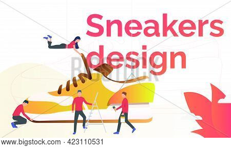 Sneakers Design Flyer Template. Sport Shoes Designers Working On New Sneakers. Fashion Concept. Vect