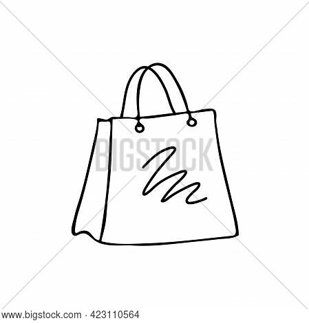 Shopping Bag Isolated On The Background. Black And White Vector Illustration In Handrawn Outline Sty