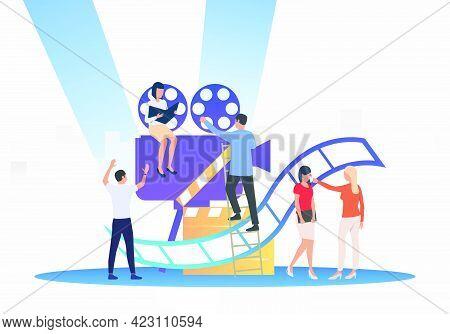 Staff Creating Film. Camera, Scenario, Actors. Filmmaking Concept. Vector Illustration For Presentat