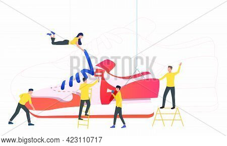 Team Of Workers Producing Sneakers. Designers Working On New Model. Fashion Concept. Vector Illustra