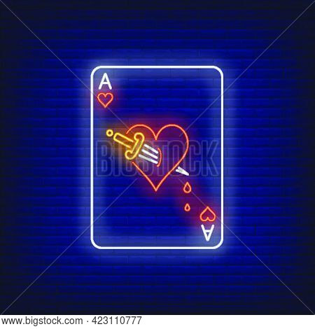 Ace Of Hearts With Dagger Playing Card Neon Sign. Gambling, Poker, Casino, Game Design. Night Bright