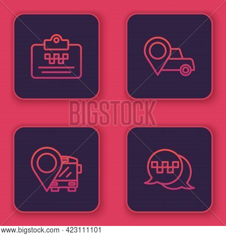 Set Line Taxi Driver License, Location With Bus, Taxi And Call Telephone Service. Blue Square Button
