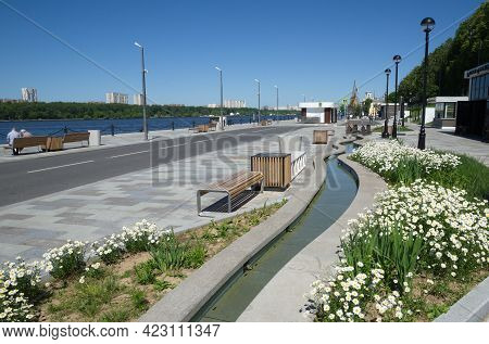 Moscow, Russia - June 3, 2021: Embankment Near The Building Of The Northern River Station With A Sma