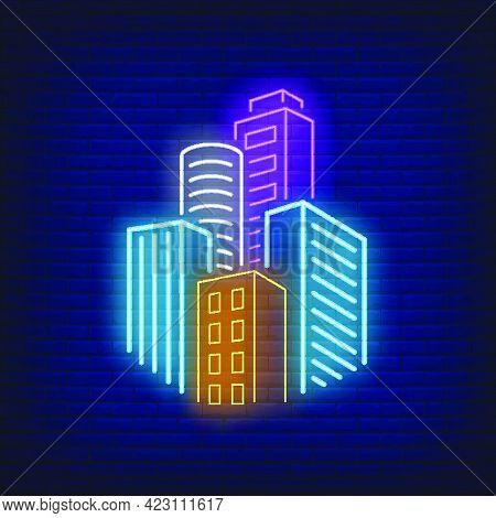 City Skyscrapers Neon Sign. Architecture, Downtown Design. Night Bright Neon Sign, Colorful Billboar