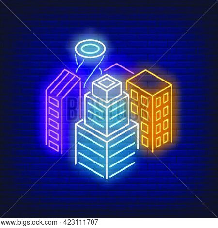 Downtown Buildings Neon Sign. Architecture, City Design. Night Bright Neon Sign, Colorful Billboard,