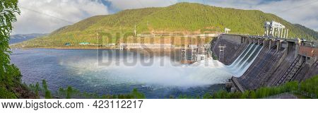 Water Discharge To Hydroelectric Power Station In Krasnoyarsk, Russia. Industrial Landscape With Kra