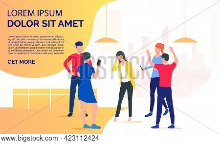 Adult People Standing And Bullying Person. Abuse, Hate, Aggression Concept. Presentation Slide Templ
