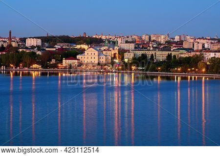 Ternopil, Ukraine-may, 11,2021:aerial View Of Night Lights Landscape Of Ternopil Downtown. City Lake