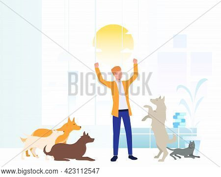 Cheerful Volunteer Taking Care Of Dogs In Animal Shelter. Homeless Pets, Veterinary Clinic Concept.