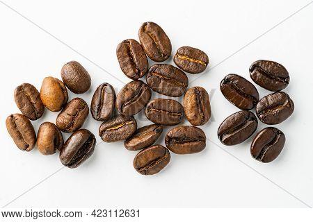 Coffee Bean Group Arabica And Robusta Stages Of Roasting Light Roast, Medium Roast, Medium-dark, Dar