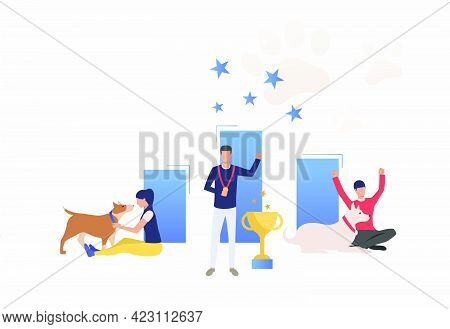 Dog Owners Celebrating Victory At Dog Show. Winner, Award, Animal Concept. Vector Illustration Can B