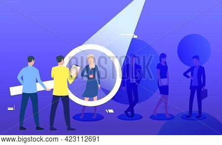 Employer And Candidate Talking Through Magnifying Glass. Man, Woman, Spotlight, Loupe. Human Resourc
