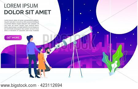 Family Looking At Moon Through Telescope. Observation, Equipment, Space Concept. Presentation Slide