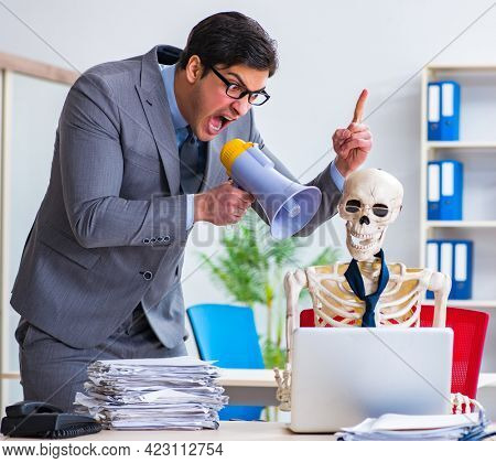 Angry boss yelling at his skeleton employee