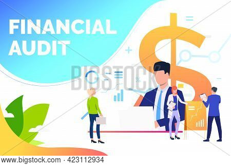 Financial Experts Analyzing Diagrams. Advisors, Graphs, Report, Marketing. Financial Audit Concept.