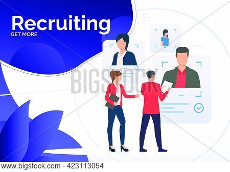 Hr Managers Selecting Candidates. Personnel Search, Recruiting, Business. Human Resource Concept. Ve