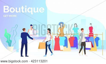 People Choosing And Buying Clothes In Boutique. Fashion Outlet, Boutique Concept. Poster Or Landing