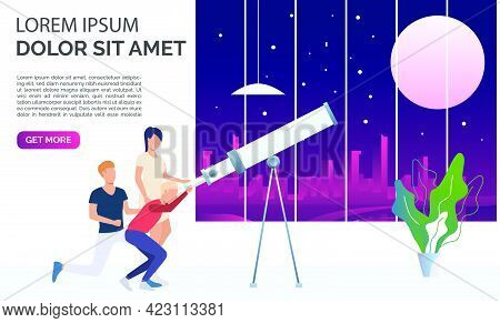 People Watching Moon And Stars Through Telescope. Observation, Equipment, Space Concept. Presentatio