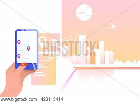 Person Using Online App And Buying Flight Ticket. Cellphone, Mobile Phone, Plane. Flight Booking Con