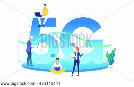 Professionals Using High Speed 5g Network. Fifth Generation, Internet, Speech Bubble. Technology Con