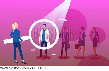 Woman Holding Magnifying Glass And Picking Man. Hr Professional, Employer, Candidate. Human Resource