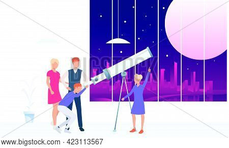 Young People Looking At Moon Through Telescope. Observation, Equipment, Space Concept. Vector Illust