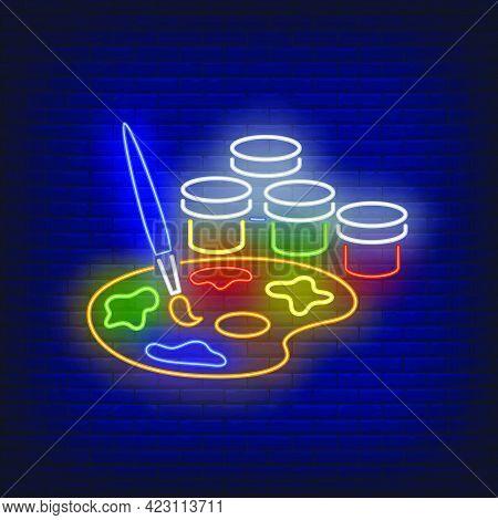 Artist Paints Neon Sign. Watercolor, Palette, Paintbrush, Gouache. Back To School Concept. Vector Il