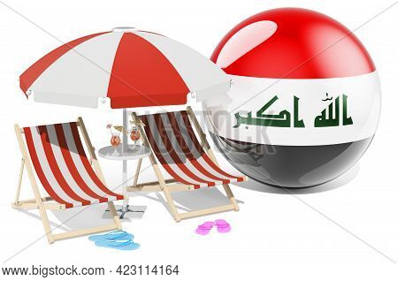 Iraqi Resorts, Iraq Vacation, Tours, Travel Packages Concept. 3d Rendering Isolated On White Backgro