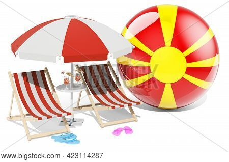 Macedonian Resorts, Macedonia Vacation, Tours, Travel Packages Concept. 3d Rendering Isolated On Whi